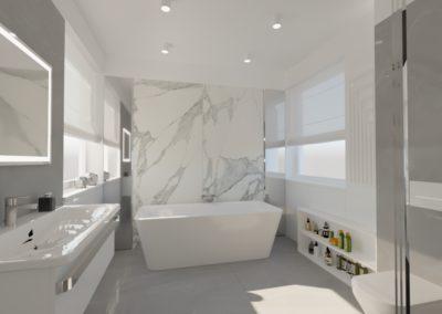 Elegancki marmur w łazience salon kąpielowy