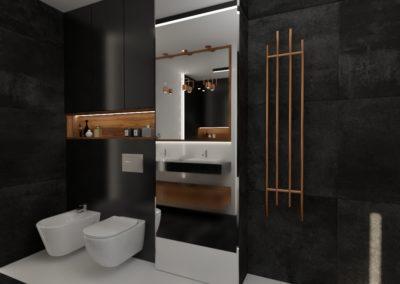 Łazienka czarna z elementami miedzi