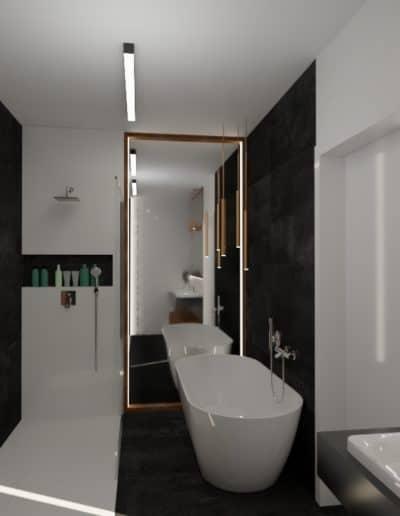 projektanci wnętrz lazienka elegandzka miedziane detale 1d Łazienka czarna z elementami miedzi
