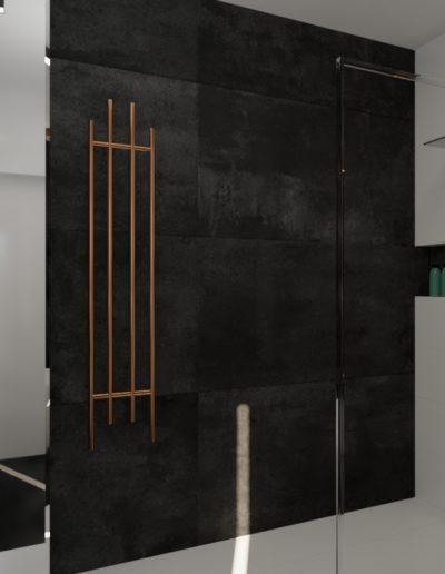 projektanci wnętrz lazienka elegandzka miedziane detale 1f Łazienka czarna z elementami miedzi
