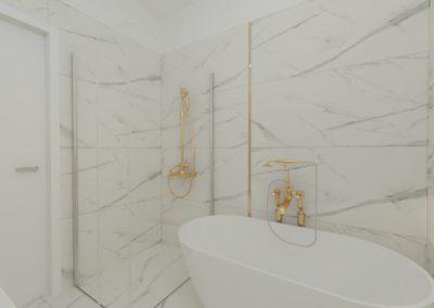 Łazienka biały marmur i złoto