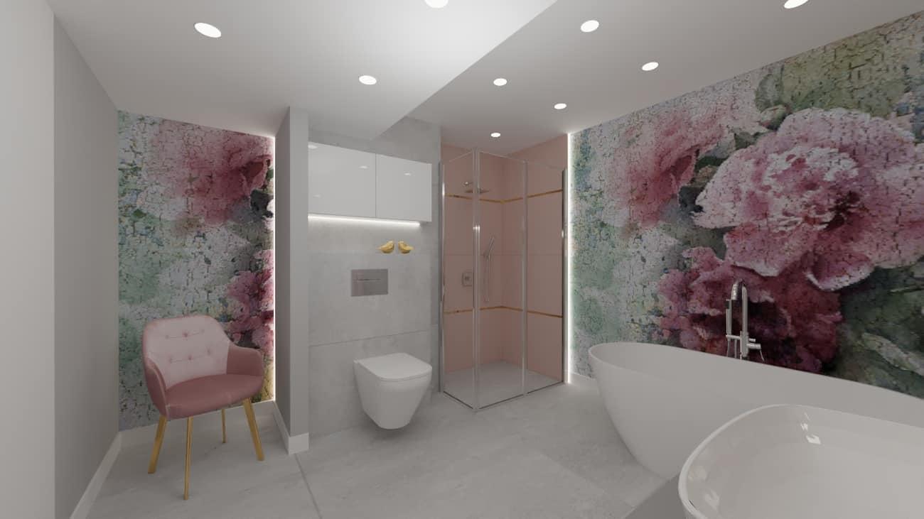 projektanci wnętrz lazienka tapeta kwiaty 1a Projekt łazienki z fototapetą
