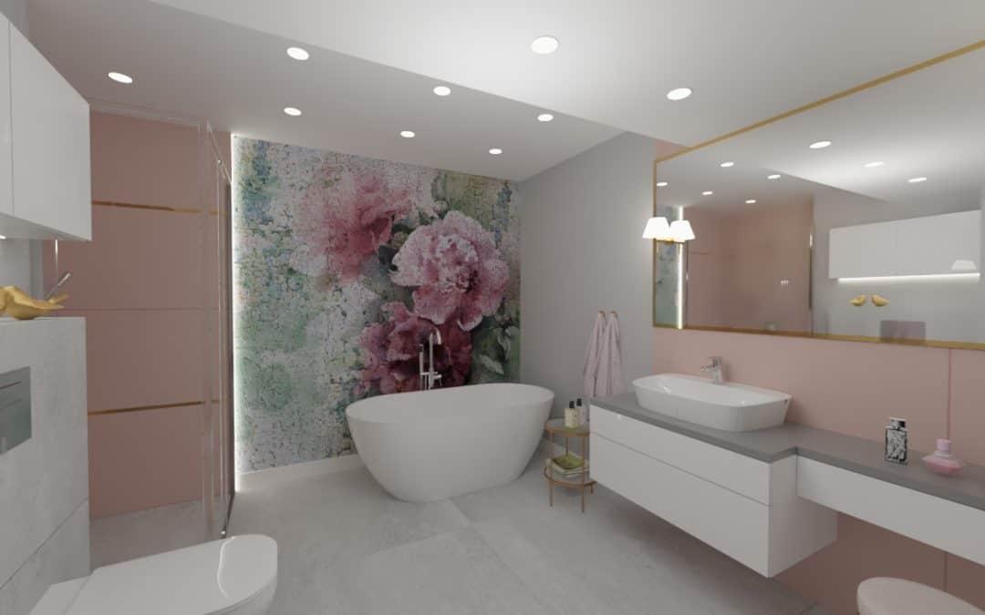Projekt łazienki z fototapetą