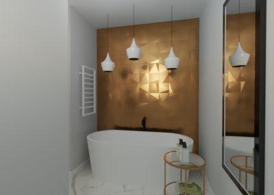 Łazienka z pięknym złotym motywem