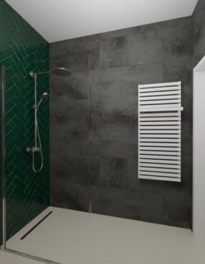projektanci wnętrz zielono szara lazienka z lustrem toaleta umywalka 1c 1024x576 1 Łazienka butelkowa zieleń