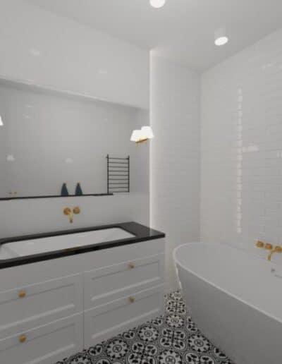 projektanci wnętrz biala lazienka 2b Biało-czarna łazienka