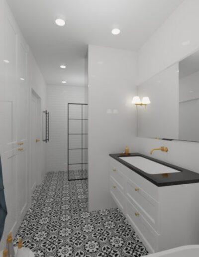 projektanci wnętrz biala lazienka 2c Biało-czarna łazienka