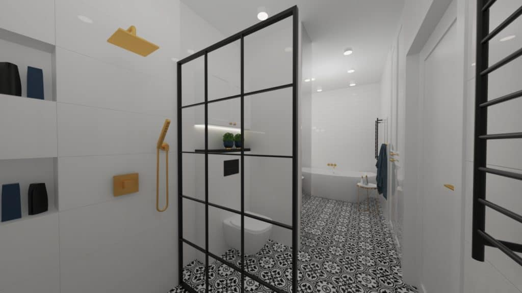 projektanci wnętrz biala lazienka 2g Biało-czarna łazienka