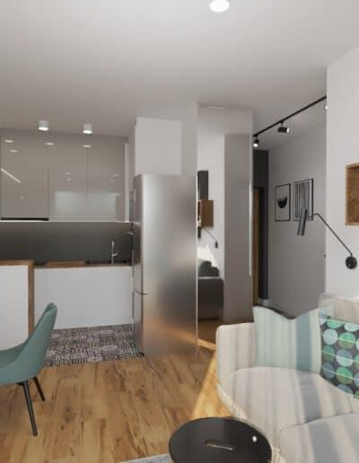 projektanci wnętrz kuchnia i salon okragly stol 1c Salon z okrągłym stołem z kuchnią