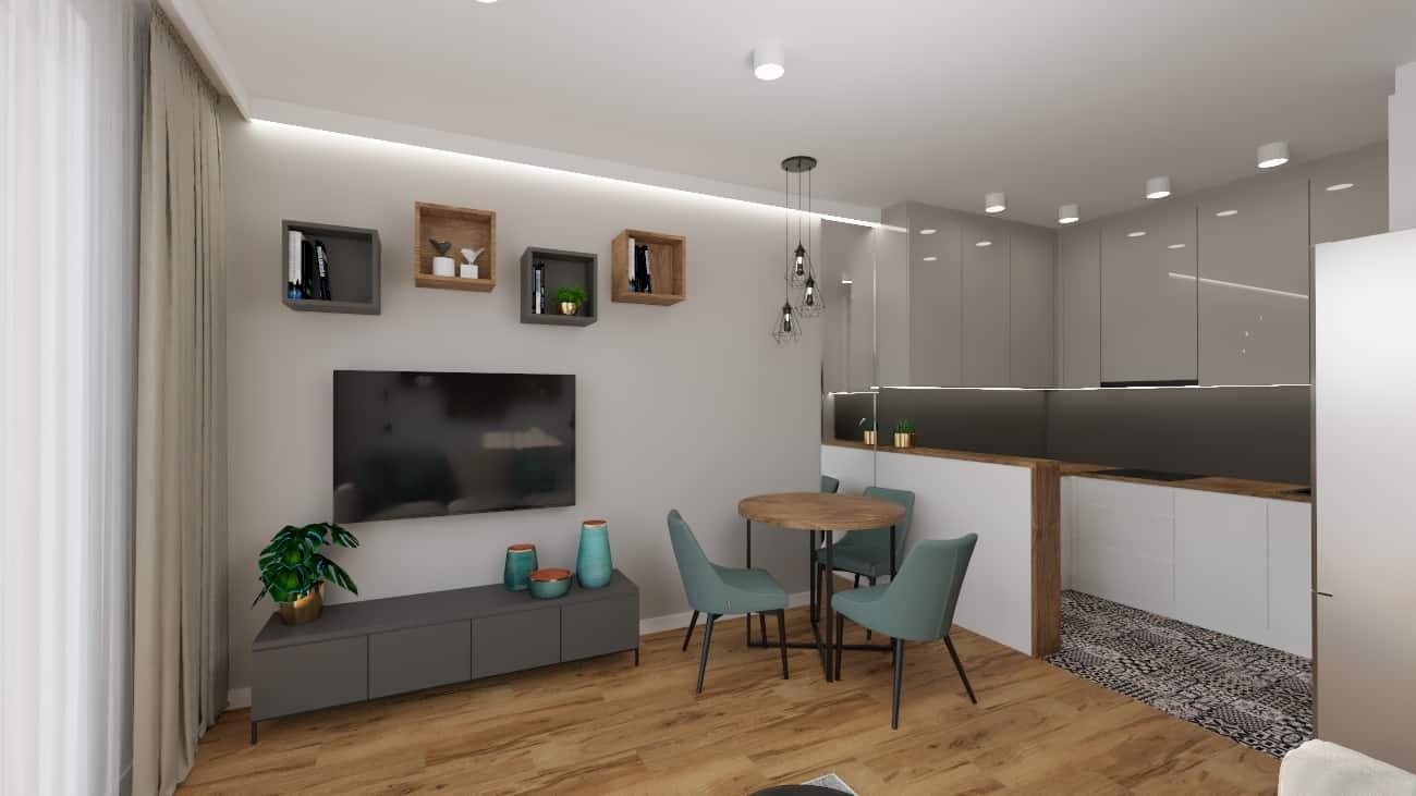 projektanci wnętrz kuchnia i salon okragly stol 1e Kuchnia i salon okrągły stół