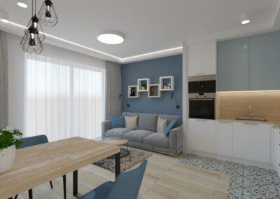 Kuchnia otwarta na niebieski salon