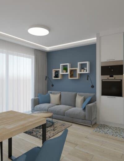 projektanci wnętrz kuchnia otwarta na salon niebieskie krzesla 1b Salon niebieska ściana