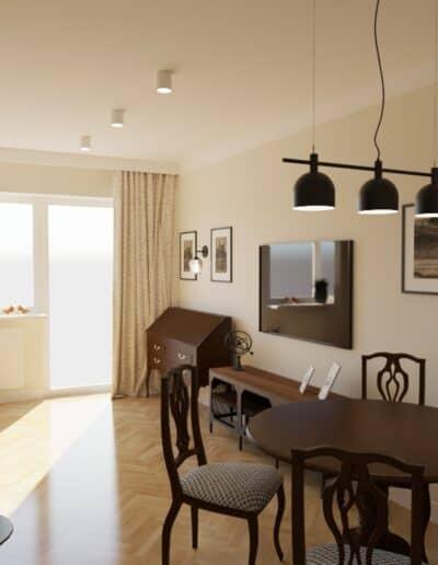 projektanci wnętrz kuchnia z salonem styl retro 1b Salon retro otwarty na kuchnię
