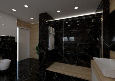 Łazienka czarny marmur i drewno