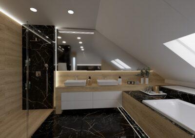 Łazienka na poddaszu marmur czarny