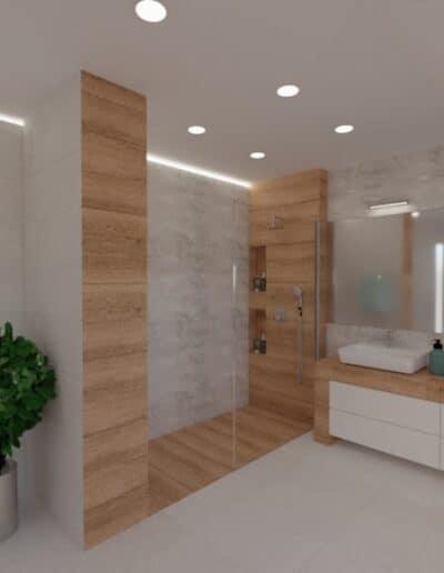 projektanci wnętrz lazienka na poddaszu z wanna i deszczownia 1a Salon kąpielowy