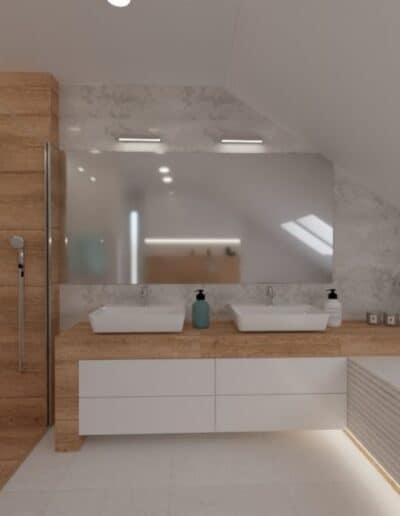 projektanci wnętrz lazienka na poddaszu z wanna i lustrem 1c Salon kąpielowy