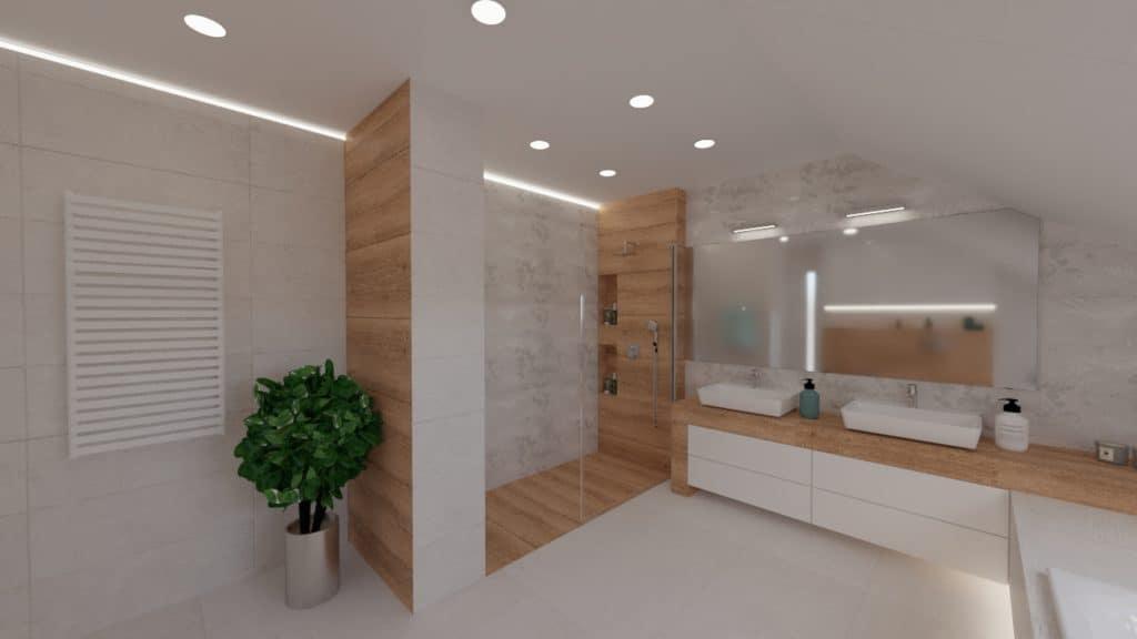 projektanci wnętrz lazienka na poddaszu z wanna i umywalkami 1b Salon kąpielowy
