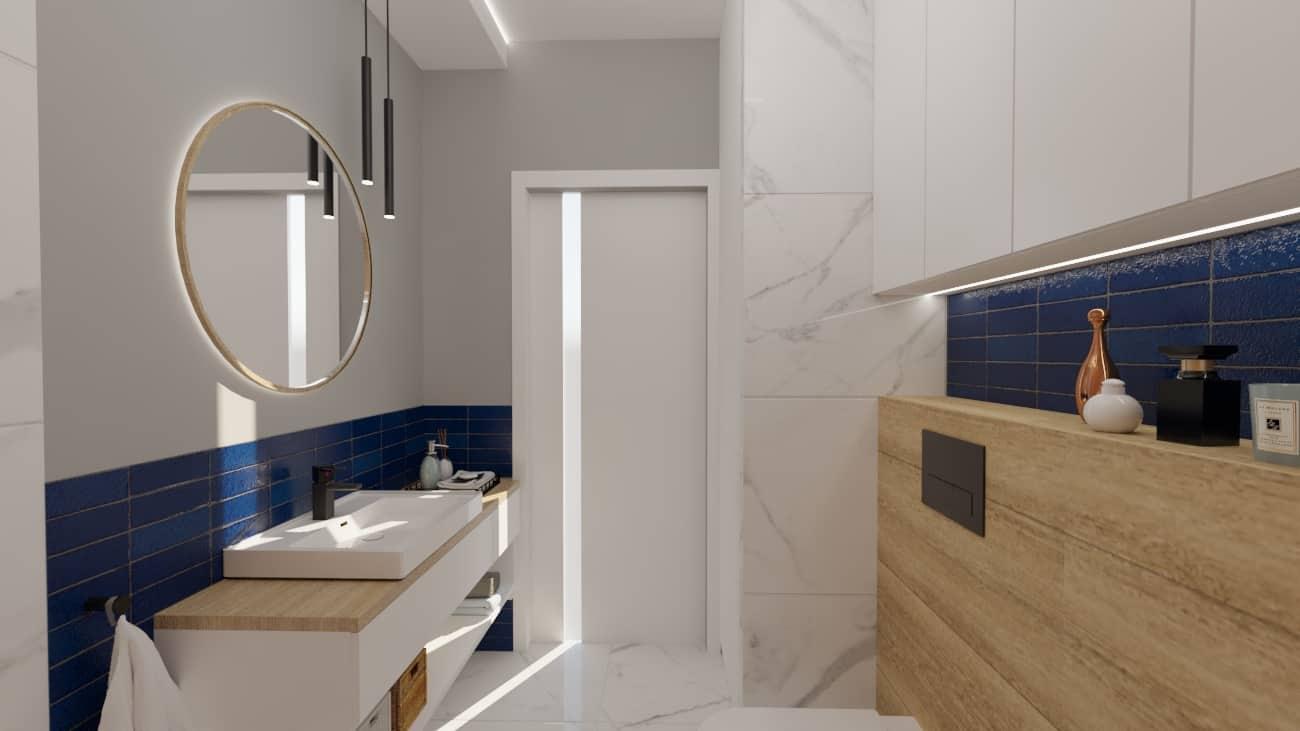 projektanci wnętrz lazienka niebieska z okraglym lustrem 1a Łazienka niebieska z okrągłym lustrem