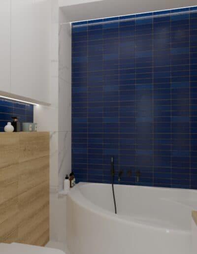 projektanci wnętrz lazienka niebieska z okraglym lustrem 1b Łazienka niebieska z okrągłym lustrem