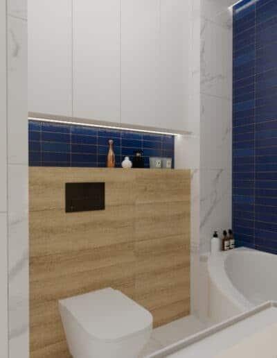 projektanci wnętrz lazienka niebieska z okraglym lustrem 1c Łazienka niebieska z okrągłym lustrem