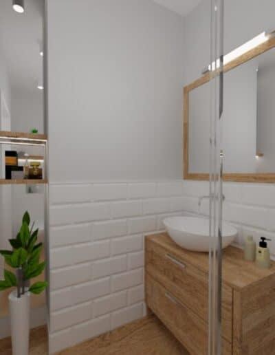 projektanci wnętrz lazienka od salonu 1c Mała łazienka z cegiełką