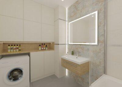 Łazienka z szarym dekorem