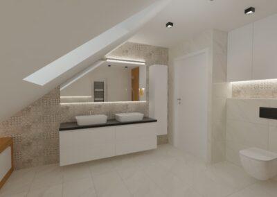 Łazienka w Nadarzynie usytuowana na poddaszu