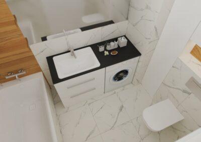 Łazienka marmur i drewno