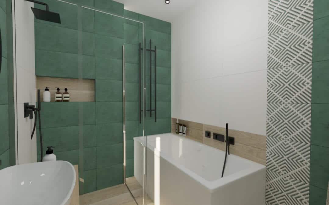 Łazienka zielona z czarnymi dodatkami