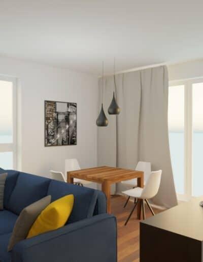 projektanci wnętrz mieszkanie na goclawiu 1a Mieszkanie na Gocławiu kuchnia salon
