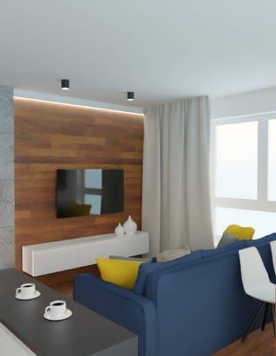 projektanci wnętrz mieszkanie na goclawiu 1h Mieszkanie na Gocławiu kuchnia salon