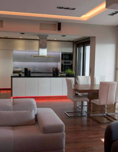 projektanci wnętrz mieszkanie na zoliborzu salon 01B Kuchnia otwarta na salon Żoliborz