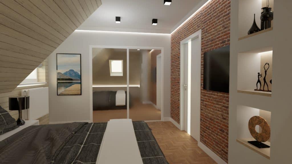 projektanci wnętrz nadarzyn sypialnia cegla 2a Sypialnia Nadarzyn z żółtym fotelem
