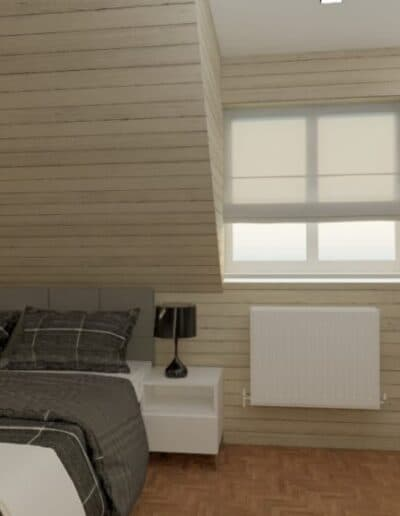 projektanci wnętrz nadarzyn sypialnia cegla 2d Sypialnia Nadarzyn z żółtym fotelem