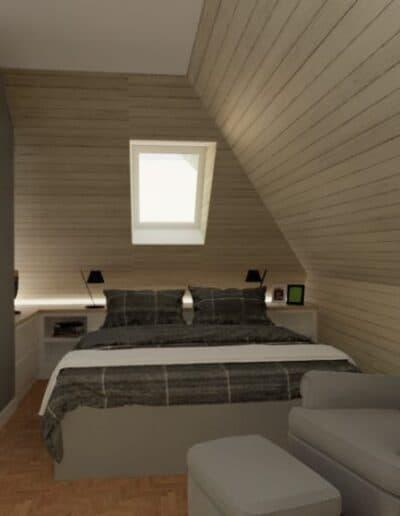 projektanci wnętrz nadarzyn sypialnia cegla 2f Sypialnia Nadarzyn z żółtym fotelem