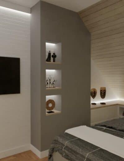 projektanci wnętrz nadarzyn sypialnia cegla 2g Sypialnia Nadarzyn z żółtym fotelem