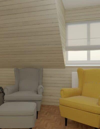 projektanci wnętrz nadarzyn sypialnia cegla 2h Sypialnia Nadarzyn z żółtym fotelem