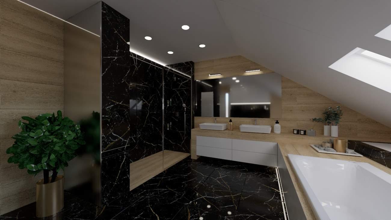 projektanci wnętrz poddasze lazienka z czarnym marmurem 1a Poddasze łazienka z czarnym marmurem