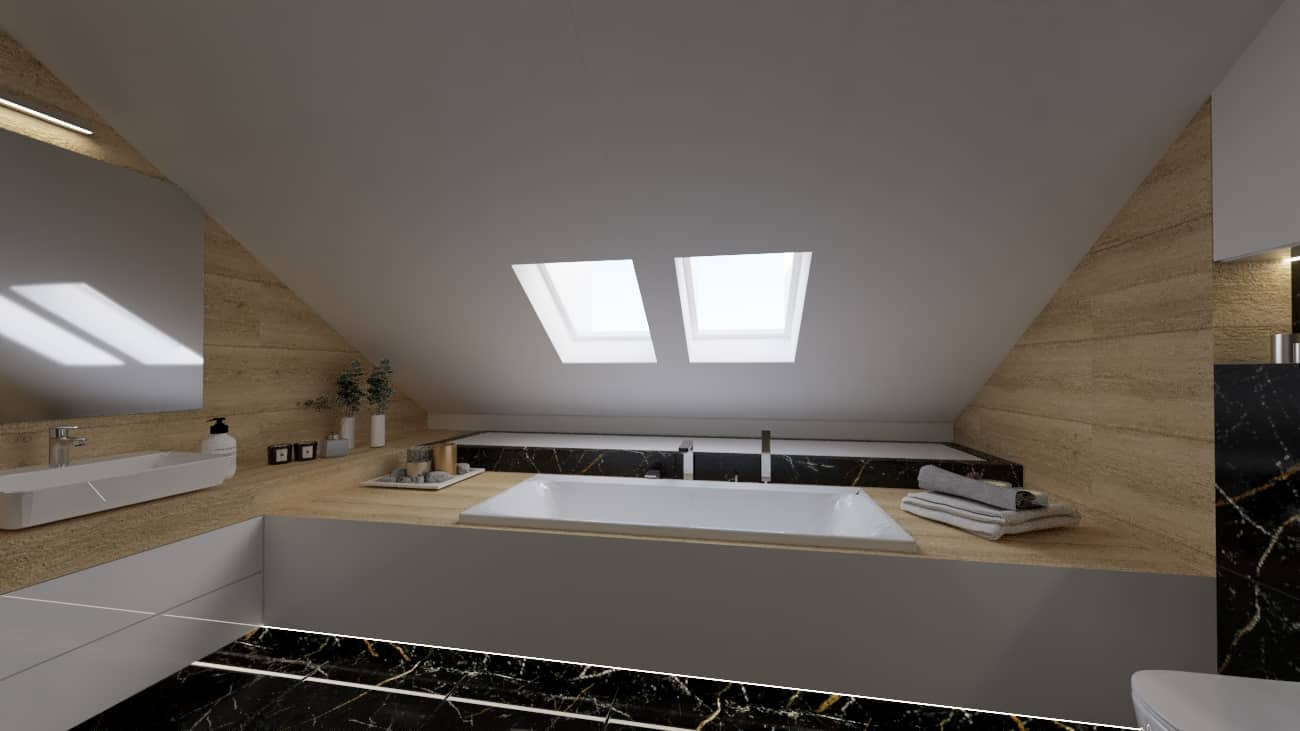 projektanci wnętrz poddasze lazienka z czarnym marmurem 1b Poddasze łazienka z czarnym marmurem