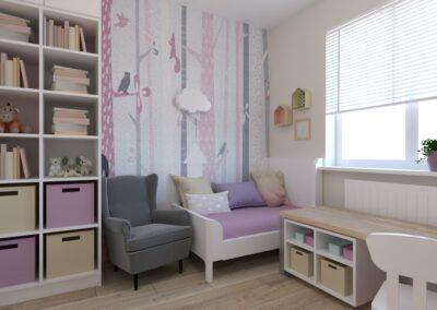 Pokój dla małej dziewczynki z tapetą