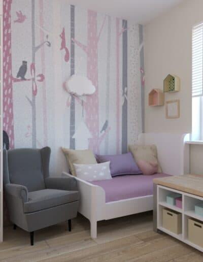 projektanci wnętrz pokoj dziewczynki tapeta las 1a Pokój dla małej dziewczynki z tapetą