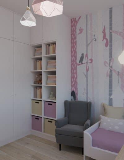 projektanci wnętrz pokoj dziewczynki tapeta las 1e Pokój dla małej dziewczynki z tapetą
