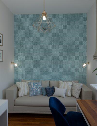 projektanci wnętrz pokoj tapeta geometryczna raby 1a Pokój z geometryczną tapetą w rąby