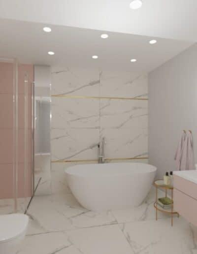projektanci wnętrz rozowa lazienka 1b Różowa łazienka