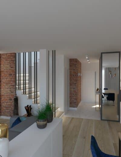 projektanci wnętrz salon cegla z kuchnia 1b Salon z ceglaną ścianą TV