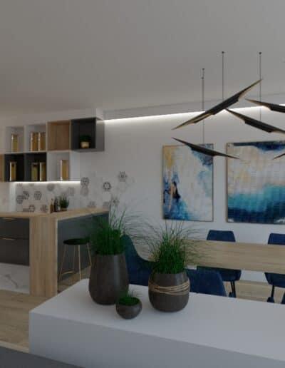 projektanci wnętrz salon cegla z kuchnia 1d Salon z ceglaną ścianą TV