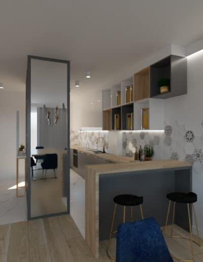 projektanci wnętrz salon cegla z kuchnia 1e Salon z ceglaną ścianą TV