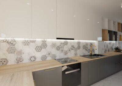 Kuchnia z salonem ściana z cegły