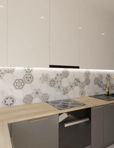 projektanci wnętrz salon cegla z kuchnia 1h Salon z ceglaną ścianą TV